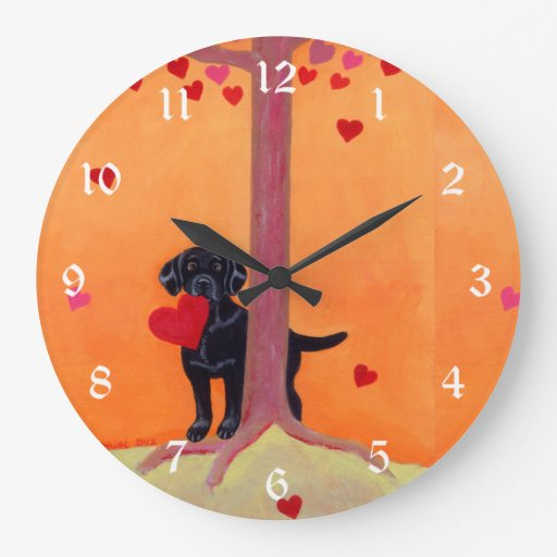 Autumn Color Black Labrador Painting Large Clock