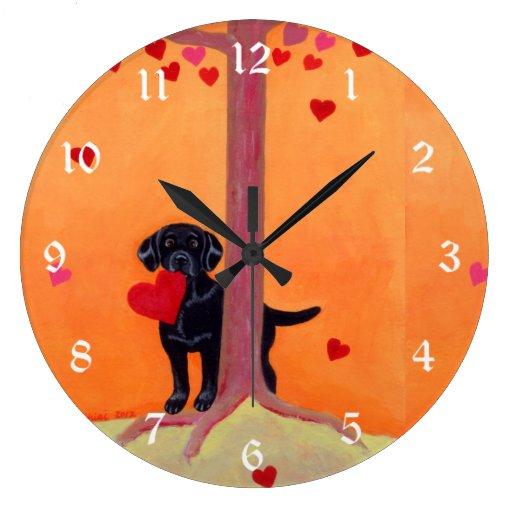 Autumn Color Black Labrador Painting Large Clock