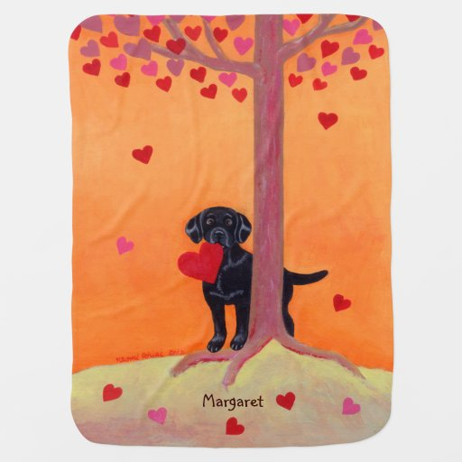 Autumn Color Black Labrador Painting Receiving Blanket
