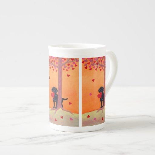 Autumn Color Black Labrador Painting Tea Cup