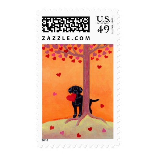 Autumn Color Black Labrador Postage