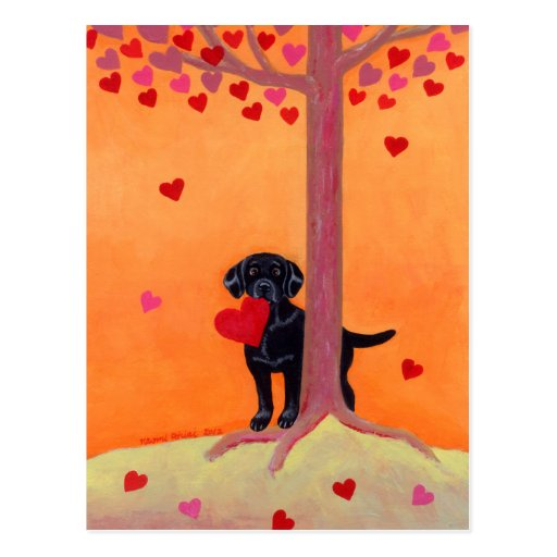 Autumn Color Black Labrador Postcard