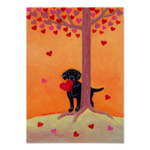 Autumn Color Black Labrador Poster
