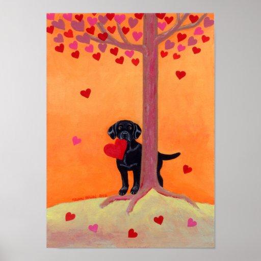 Autumn Color Black Labrador Poster