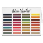 Autumn color chart greeting cards