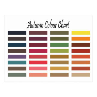 Autumn color chart post cards