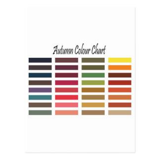 Autumn color chart postcards