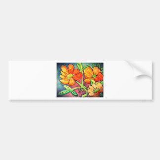 autumn colored flowers watercolor bumper stickers