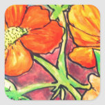 autumn colored flowers watercolor sticker
