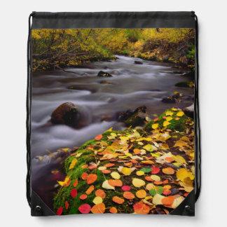 Autumn Colors along McGee Creek Drawstring Backpack