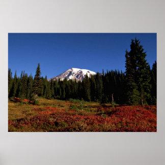 Autumn colors and summit, Mt. Rainer, Washington Posters