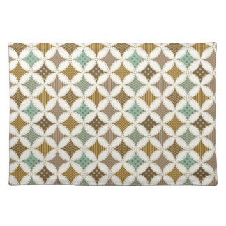 Autumn Colors Diamond Star in Circle Pattern Print Cloth Placemat