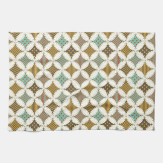 Autumn Colors Diamond Star in Circle Pattern Print Hand Towels