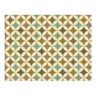 Autumn Colors Diamond Star in Circle Pattern Print Postcard
