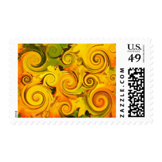 Autumn Colors Fall Leaves Swirls Postage