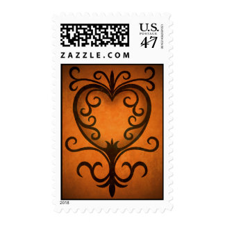 Autumn colors heart postage