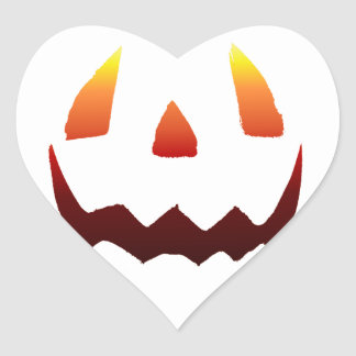 Autumn Colors Jack O' Lantern Face Heart Sticker
