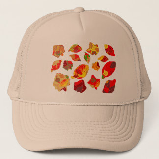 Autumn Colors Leaf Pattern Trucker Hat
