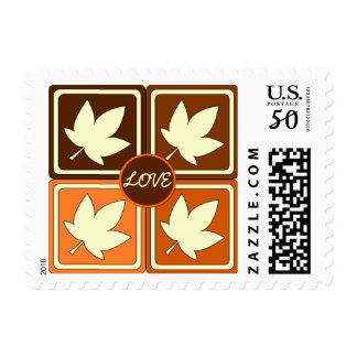 Autumn Colors Love Fall Leaf Wedding Postage