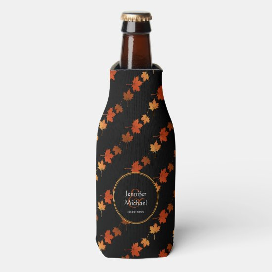 Autumn Colors Maple Leaves pattern couple's name Bottle Cooler