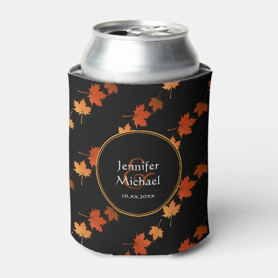 Autumn Colors Maple Leaves pattern couple's name Can Cooler