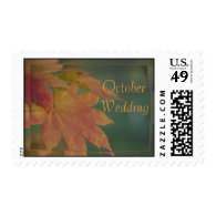 Autumn Colors October Wedding Postage Stamp