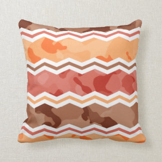 Autumn Colors; Red, Orange, Brown Camo Throw Pillow