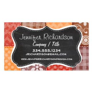 Autumn Colors; Red, Orange, Brown Patchwork Business Card