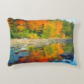 Autumn Colors reflecting in a stream in Vermont Accent Pillow