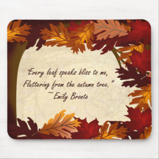 Autumn Colors Tree Leaves Bronte Quote Mousepad