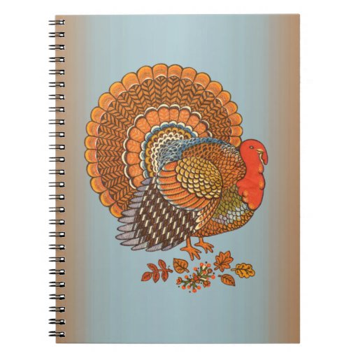 Autumn Colors Turkey Leaves Spiral Notebook