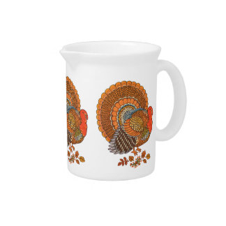 Autumn Colors Turkey Leaves Thanksgiving Pitcher