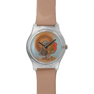 Autumn Colors Turkey Leaves Thanksgiving Wristwatch