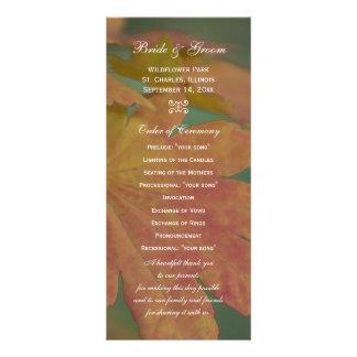 Autumn Colors Wedding Program Personalized Rack Card