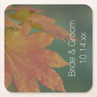 Autumn Colors Wedding Square Paper Coaster