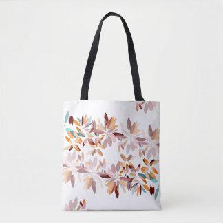 Autumn colors white background foliage print tote bag