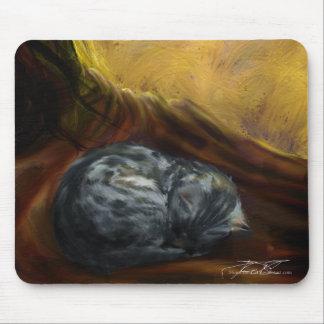 Autumn colours: Sleeping Grey Cat - mousepad