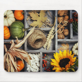 Autumn Composition In Wooden Box Mouse Pad
