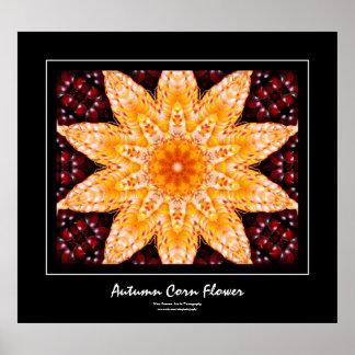 Autumn Corn Flower Black Border Poster