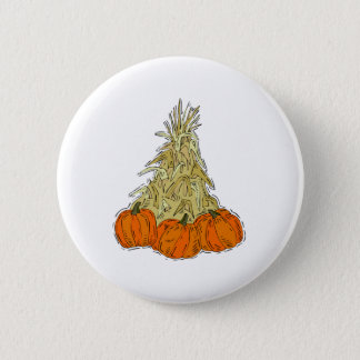 Autumn Cornstalks Pumpkins Button