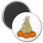 Autumn Cornstalks Pumpkins Magnets