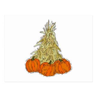 Autumn Cornstalks Pumpkins Postcard