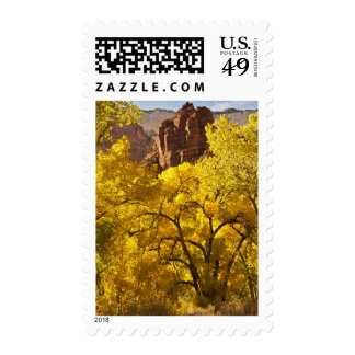 Autumn cottonwoods and rock formations stamps