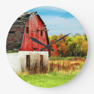 Autumn Country Barn Clock