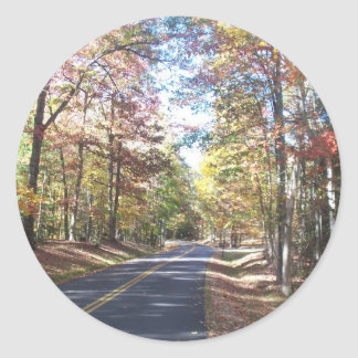 Autumn Country Road Classic Round Sticker