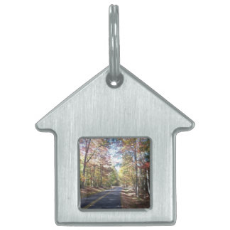Autumn Country Road Pet Name Tag