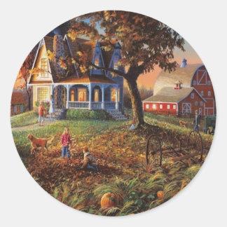 Autumn Country Scene Classic Round Sticker