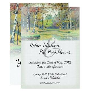 Autumn Country Stream Wedding Invite #2D