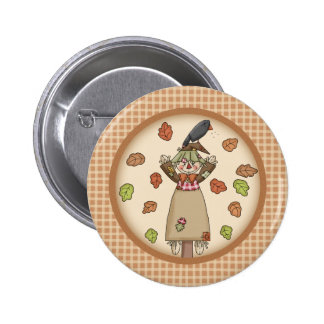 Autumn Country Style Screcrow on Plaid Pattern 2 Inch Round Button