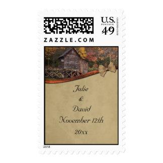 Autumn Country Theme Wedding Postage Stamp